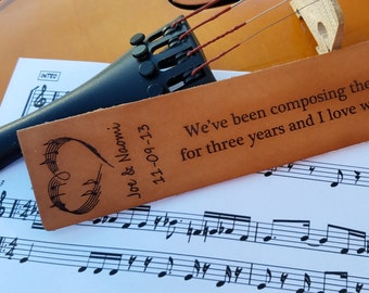 3rd Wedding Anniversary, Music Lovers Custom  Engraved Leather Bookmark