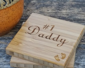 Father's Day Gift  New Dad, Engraved Coasters, Custom Keepsakes For Dad