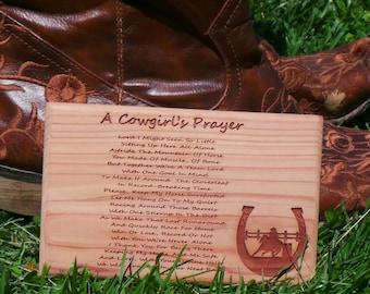 Cowgirl's Prayer, Equestrian Girl Plaque, Wall Decor