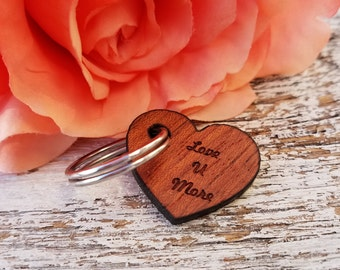 Love You More Key Fob Gift, Boyfriend, Girlfriend, Husband, Wife, Love You More Keychain, Custom Wooden Heart Key Chain, Gift Wrapped