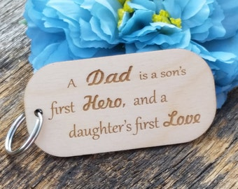 Custom Gift For Dad, Wood Engraved Key Fob, Father's Day Gift, Birthday