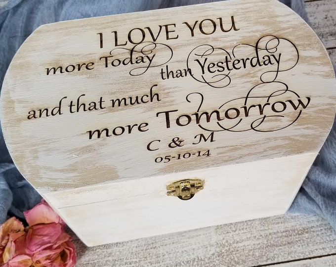 Featured listing image: 5th Anniversary Gift, Wooden Keepsake Box Engraved, Master Bedroom Decoration
