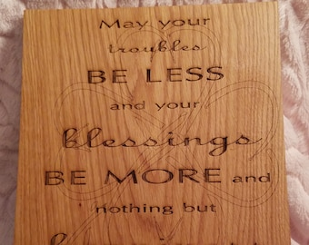St. Patricks Day Gift, Newly Engaged Gift, First Home Gift,  Engraved Wooden Wall Art, Farmhouse Goods
