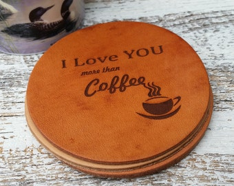 Custom Engraved Leather Coasters, Gift Boxed