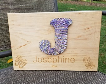 Grandchild Christmas Gift, Nursery Room Decor, Wooden Engraved  Plaque String Art, Name Plaque