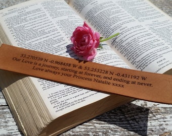 3rd Wedding Anniversary, Custom  Engraved Leather Bookmark With Coordinates & Quote