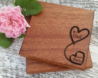 Custom Gift Dad, Wood Engraved Coasters, Birthday, Christmas, Birthday, Gift Boxed