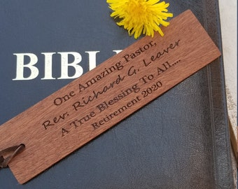 Pastor Retirement Gift, Engraved Wood Bookmark, CEO Desk Decor, Gift Wrapped