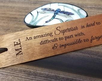 Supervisor Goodbye Gift, Engraved Wood Bookmark, Gift Wrapped