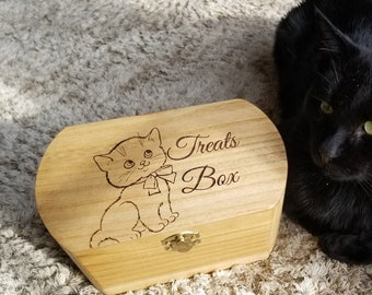 Cat Treat Box, Custom Engraved, Cat Mom Gift
