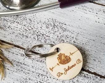 Vday Gift Doctor, Personalized Key Fob, Gym Bag Tag, Zipper Pull,  CUSTOM Engraved For Any Profession, Gift Boxed