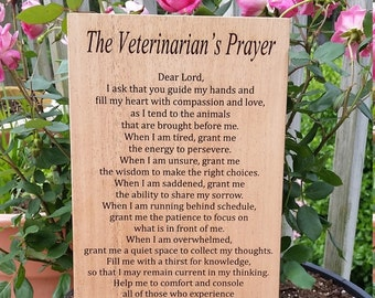 Personalized Gift Vet, Veterinarian's Prayer, Engraved  Prayer Personalized, Ships NEXT  Day, Priority Mail, Gift Wrapped