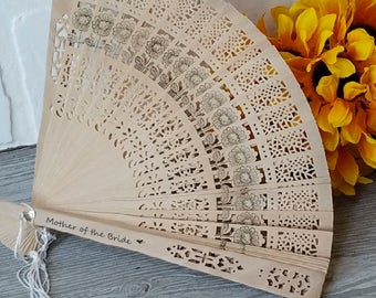 Sunflower Wedding, Personalized Wood Lace Hand Fans, Mother of the Bride, Summer Outdoor At Home Wedding