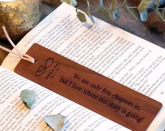 Custom 5th Anniversary Gift,  Engraved Wooden Bookmark,  GIFT BOXED