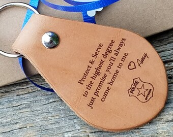Police Officer Gift, Engraved Leather Key Chain, Officer Quote, Holiday Gift,