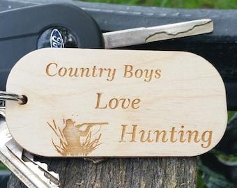 Birthday Gift Men,  Wooden Key Chain, Gift For Hunter, Husband, Boyfriend