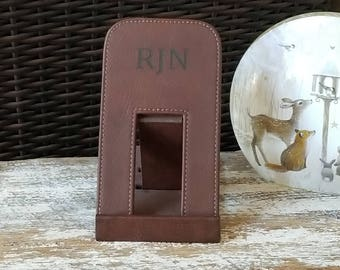 3rd Anniversary Gift,  Monogramed Leather Phone Holder, Custom Personalized Docking Station