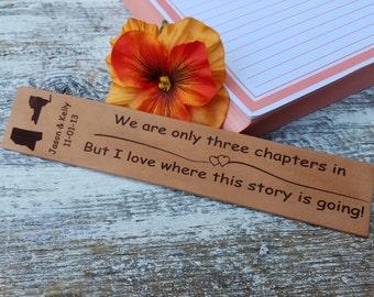 3rd Wedding Anniversary, Custom  Engraved Leather Bookmark