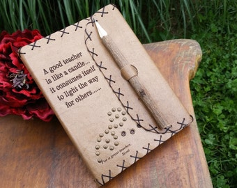 Gift For Teachers, Graduation Gift, Engraved Leather Journal, Gift For Teacher