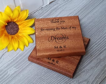 Wedding Day Gift For His Parents, Mother Of The Groom, Father Of The Groom, Gift Boxed,  2 Wood Engraved Coasters