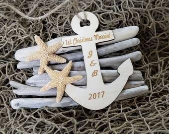 1st Christmas Married, Nautical Ornament, Drift Wood & Starfish Christmas Tree Decor