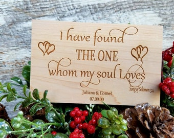 5th Anniversary Gift, Bridal Shower Gift, Bible Verse Engraved Plaque,  I Have Found The One Whom My Soul Loves, Songs Of Solomon 3:4