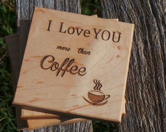 5th Anniversary Gift Wife, I Love You More Than Coffee Engraved Wooden Coasters