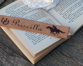 Personalized  Leather Bookmark,  Horse Lover Gift, Rancher Gift, Christmas, Birthday, GIFT WRAPPED, Made In USA
