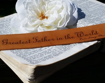 Personalized Gift For Dad From Son & Daughter, Custom Engraved Leather Bookmark,