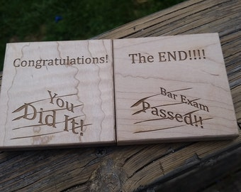 New Lawyer Gift, Wooden Coasters, Bar Exam Congratulations Gift, Engraved Coasters