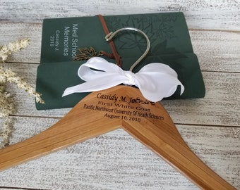 Gift Med Student Gift, First White Coat Gift Set, Personalized Hanger & Journal,  Priority Mail