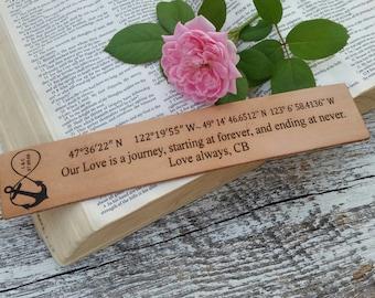 Nautical 3rd Wedding Anniversary, Custom  Engraved Leather Bookmark, Anchor Bookmark