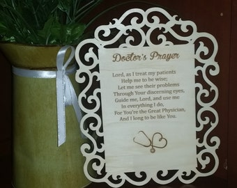 Doctor's Prayer Engraved Plaque, Graduation Gift Doctor