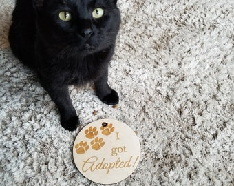 I Got Adopted Photo Prop Pet, Milestone Pet Plaque, Custom Engraved, Christmas Gift