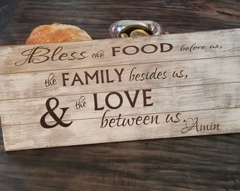 Bless The Food Before Us, Engraved Wooden Plaque, Gift Wrapped
