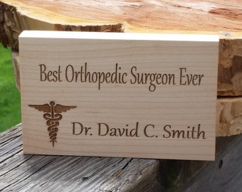 Orthopedic Surgeon Gift, Office Decor, Engraved Plaque