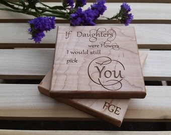 Christmas Gift For Daughter, Custom Wood Coasters
