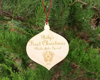 Baby's 1st Christmas Ornament Personalized, Engraved Wood Globe
