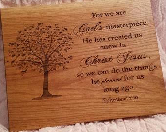 Custom Engraved Bible Verse Plaque, Ephesians 2:10