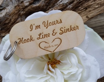 Personalized 5th  Anniversary Gift, Wooden Keychain, Hook, Line & Sinker