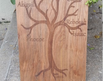 Wood Family Tree Card, Birthday Gift, Gift From Kids, Engraved Plaque