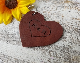 3rd Wedding Anniversary, Leather Heart Personalized Keychain, Christmas Gift, Engagement Gift