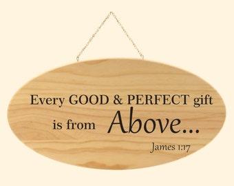 Home Decor, Bible Verse Engraved Wood Plaque,  Home Decor, James 1:17