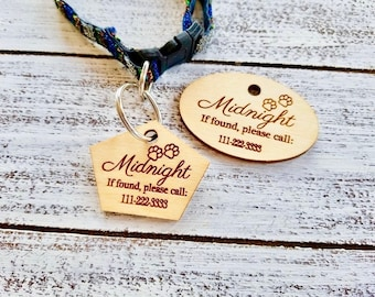 Cat Lover, Custom Pet Name Tag, Custom Wood Tag, Dog Lover, Gift Boxed