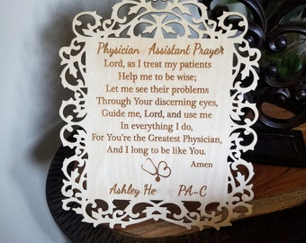 Physician Assistant Prayer Plaque, Graduation Gift, Custom Made & Engraved, Priority Shipping, Gift Wrapped