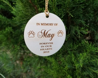 Memorial Pet Ornament, Engraved Wooden Christmas Tree Ornament, Gift Wrapped, Ships NEXT DAY