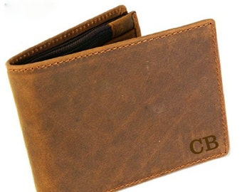 Personalized Genuine Leather Wallet, 3rd Anniversary Gift  Husband, Gift Boxed