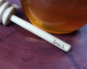 Personalized Wooden Honey Dipper, Engraved Honey Stirrer, 260 Dippers