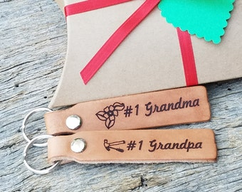 Custom Grandparents  Gift, Leather Engraved Key Chain, Christmas, Holiday, Gift Wrapped