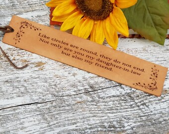Daughter In Law Gift,  Custom Engraved Leather Bookmark, Christmas Gift, Birthday Gift